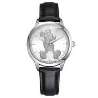 Disney brand watches women Mickey mouse quartz leather waterproof ladies students clocks diamond waterproof women's wristwatch