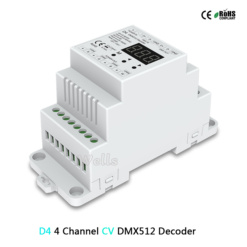 D4(CV )/DL( 0 10V) 4CH DMX512 decode;D4 RGB/RGBW Controller Din rail mounted 4 Channel led Dimming Controller-in RGB Controlers from Lights & Lighting