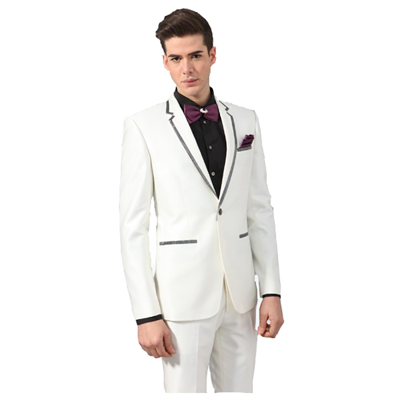 2018 Latest Coat Pant Designs White Men Suits Wedding Groom Tuxedo Tailored Mens Blazer Jacket Black Edge Party Prom 2 Pieces