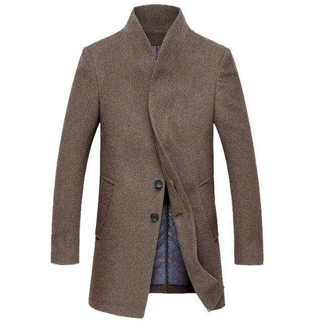 O envio gratuito de inverno 2016 Novo macho Magro mais grossa de algodão casaco de lã Mistura Casaco de lã de Moda para homens 5 cores 140yw