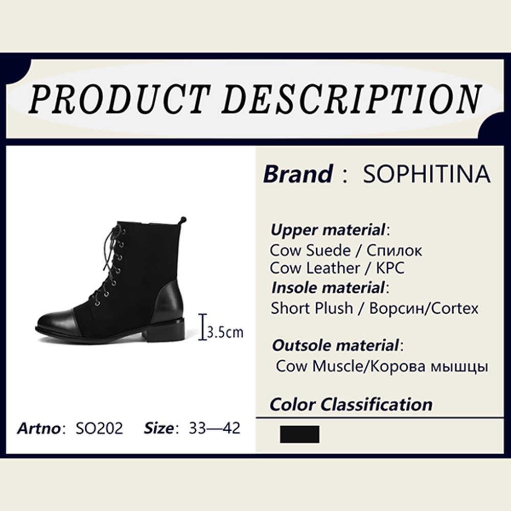 SOPHITINA Rahat Dantel-up Kadın Botları Moda Yuvarlak Ayak Med Topuk Ayakkabı Kış Temel Dış Kare Topuk Bayanlar yarım çizmeler SO202