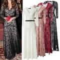 2017 Elegant Women Lace Bodycon Dresses Long Sleeve Women Dress Princess Party Gown Dress Gorgeous Deep-V Dresses for Ladies 4