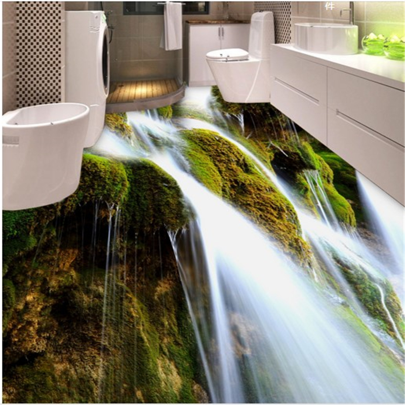 Beibehang Dimensional Background Painting Beautiful Waterfall Moss Bathroom 3d Floor Thickening