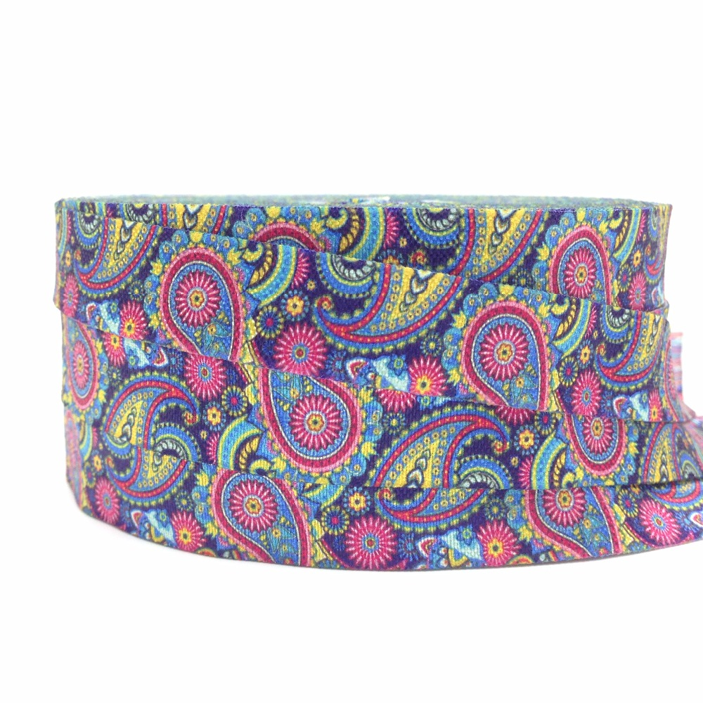 "Hot Sale 10 Yards Color Paisleys Print Fold Over Elastic 5/8"" FOE Ribbon Webbing for DIY Headwear Hair Tie Hair Accessories ribbon webbing foe ribbon10 yard - AliExpress"