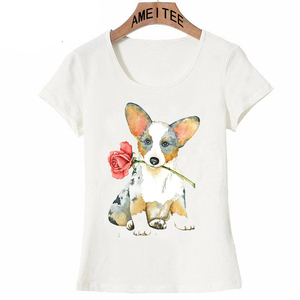 Valentine Rose Cardigan Welsh Corgi print maiden T-Shirt 2018 cute women T Shirt lovely dog design ladies Tops Pretty girl Tees(China)