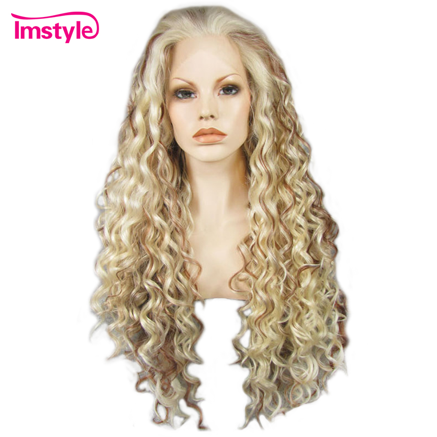 Imstyle Mixed Color Blonde Brown Wig Curly Long Hair Synthetic Lace Front Wig High Temperature Fiber Glueless Daily Wig