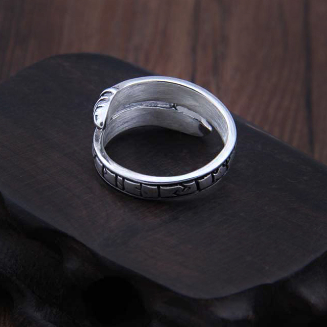 925 Sterling Silver Viking Dragon Rune Ouroboros Ring Adjustable with Viking wood box 2