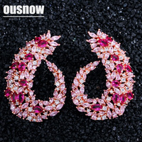 OUSNOW brand fashion high end luxury leaf earrings set with zircon temperament wild ear jewelry for women