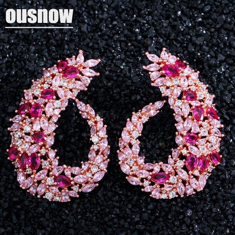 OUSNOW marque de mode haut de gamme luxe feuille boucles d'oreilles sertie de zircon tempérament sauvage oreille bijoux pour les femmes