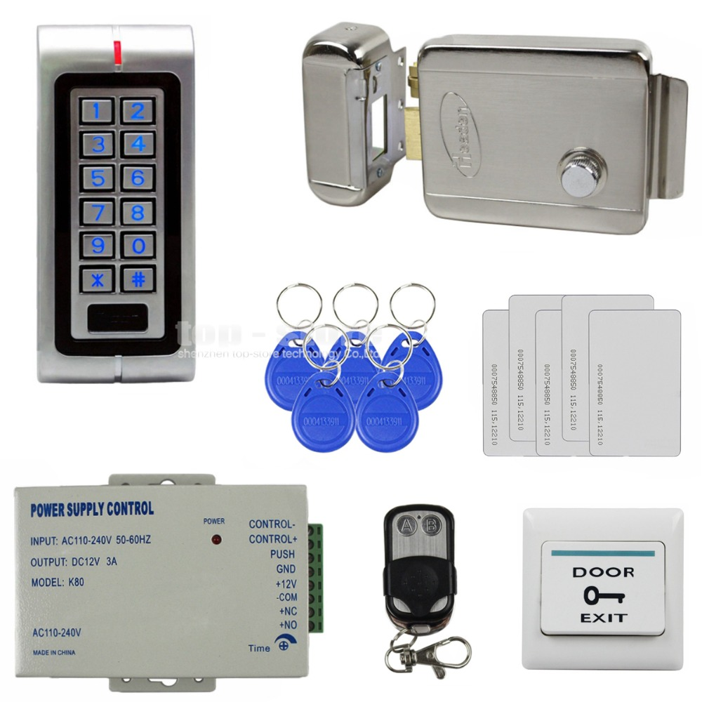 DIYSECUR Waterproof 125KHz RFID Metal Keypad Access Control System Kit Set + Electric Door Lock + RFID Cards + Power Supply W1 diysecur magnetic lock door lock 125khz rfid password keypad access control system security kit for home office