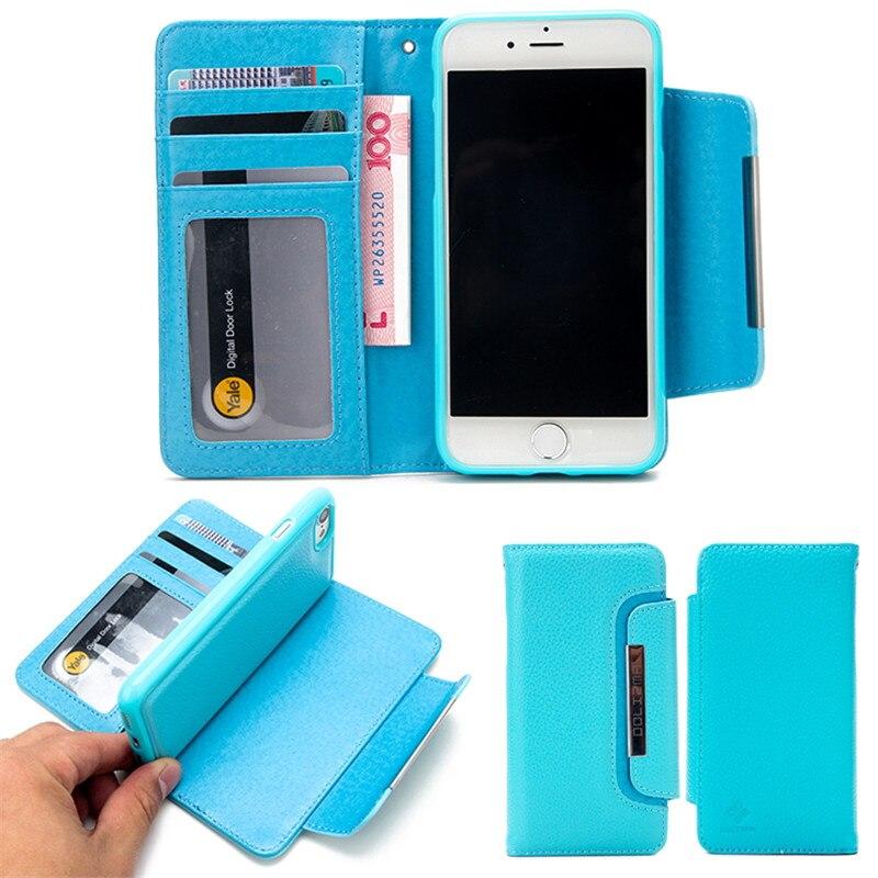 bilder für 2 in 1 Abnehmbare Magnet Brieftasche Leder Telefonkasten Für iPhone 6 Plus 6 S 7 Plus 7 4,7 5,5 Flip Standplatz-abdeckung Für iPhone 5 S SE 5G