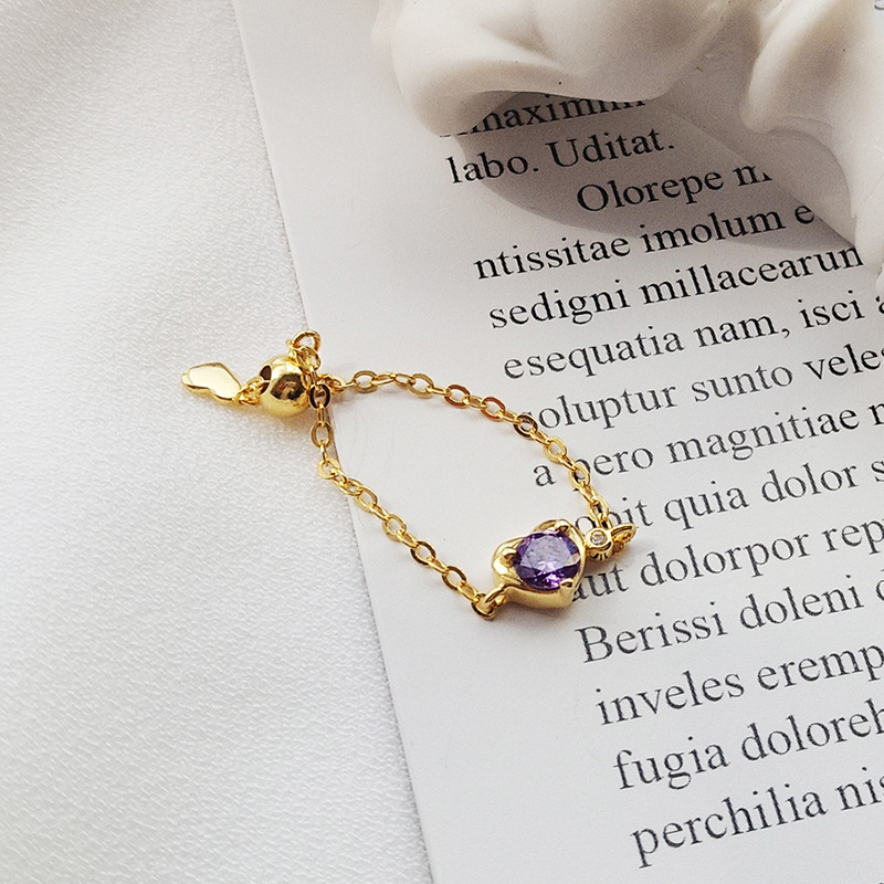 Ruifan Heart Shape Purple Cubic Zircon Adjustable Chain Ring with Amethyst 925 Silver Rings for Women Valentine 39 s day YRI143 in Rings from Jewelry amp Accessories