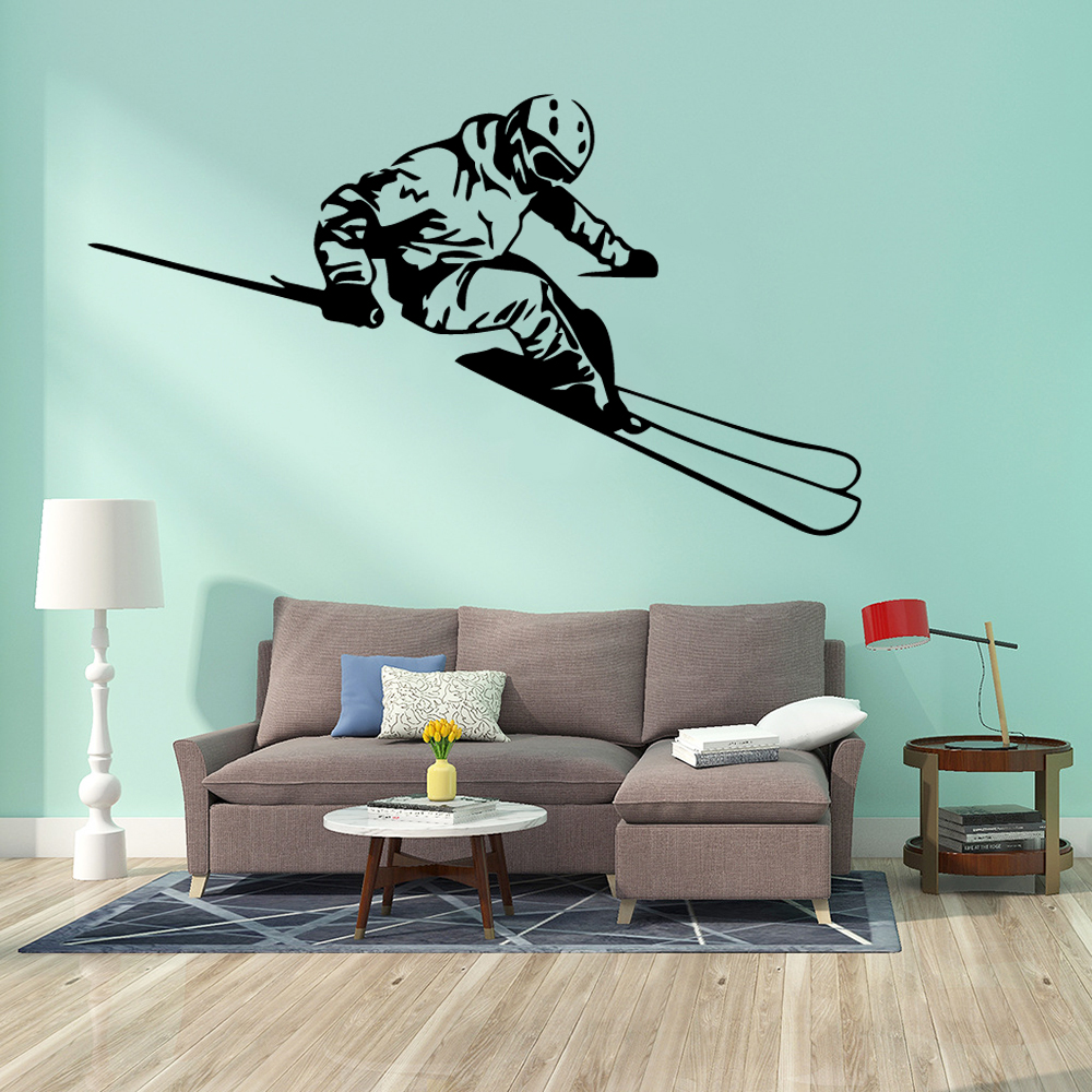 Delicate Skiing Sport Wall Stickers Home Decoration Accessories For Living Room Art Decals Kids Vinyl Murals naklejki