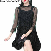 2018 Spring New Europe and the United States Large Size Women Loose Thin Fashion Korean Lace Women Dress D206