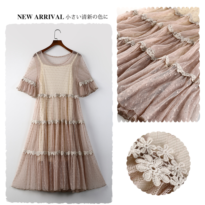 0be7571eb8e5 Sweet Dot Lace Women Two Piece dresses Summer Lace Fairy Dress Loose Casual  Mori Girl Vintage