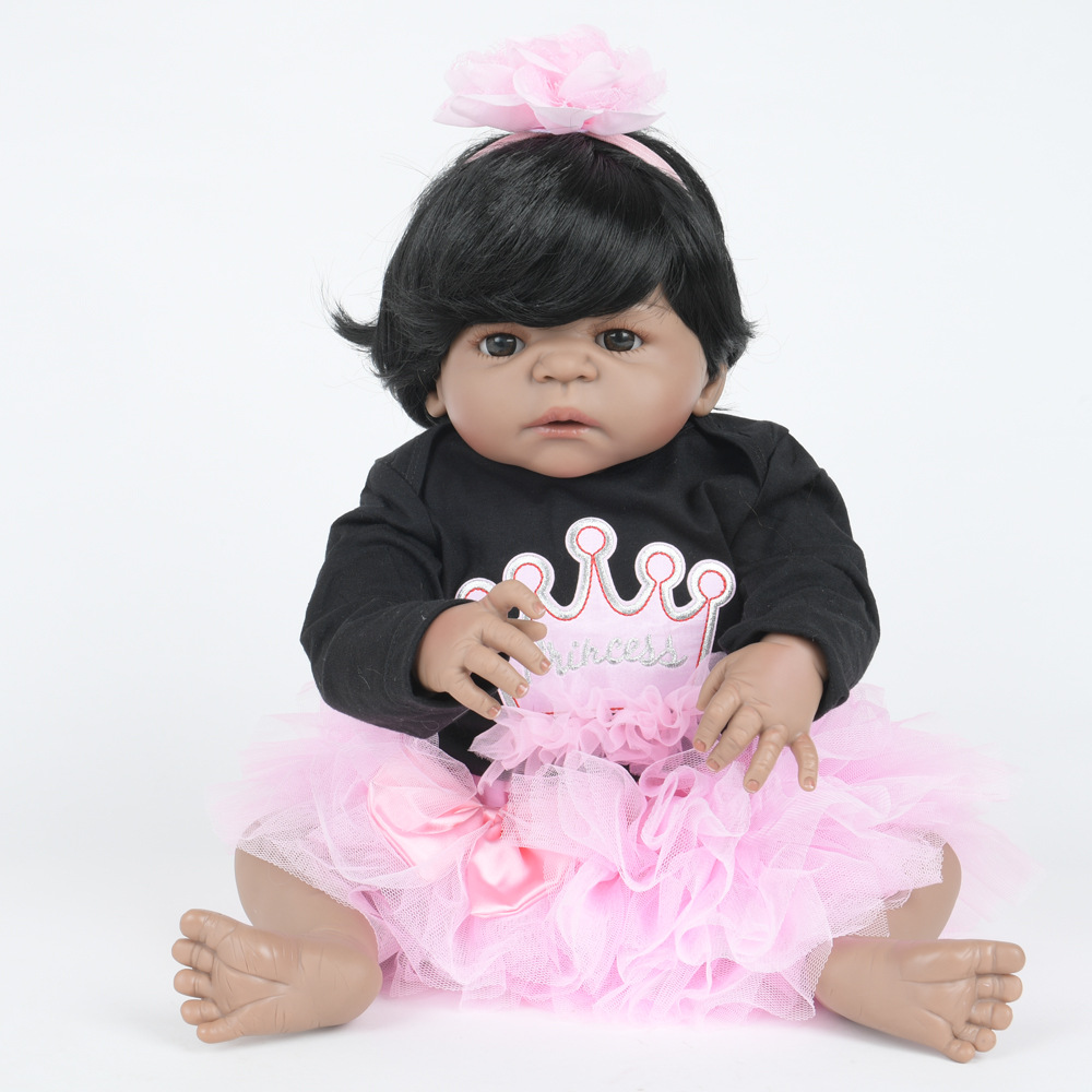 55cm Soft Full Silicone Vinyl Reborn Baby Doll Lifelike Girl Dolls for Children Kids Toy Birthday Xmas New Year Gift 22 inch soft full silicone vinyl reborn baby doll lovely sleeping girl dolls for children kids toy birthday xmas new year gift