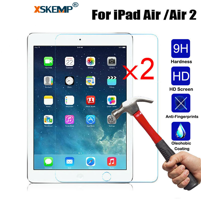 XSKEMP 2Pcs/Lot For Apple iPad Air Air2 9.7 inch 9H Hard Tempered Glass Glossy HD Scratch Resistant Tablet Screen Protector Film|Tablet Screen Protectors| |  - title=