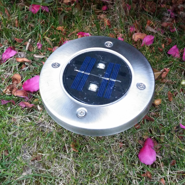 4 Pieces LED Garden Lights Stainless Steel Garden Solar Light for Fence Garden Street Decoration Outdoor Lighting 2 LED