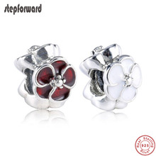 Bracelet Beads Charms Flower-Spacer Jewelry-Making Hot-Sale Enamel Silver for Red And