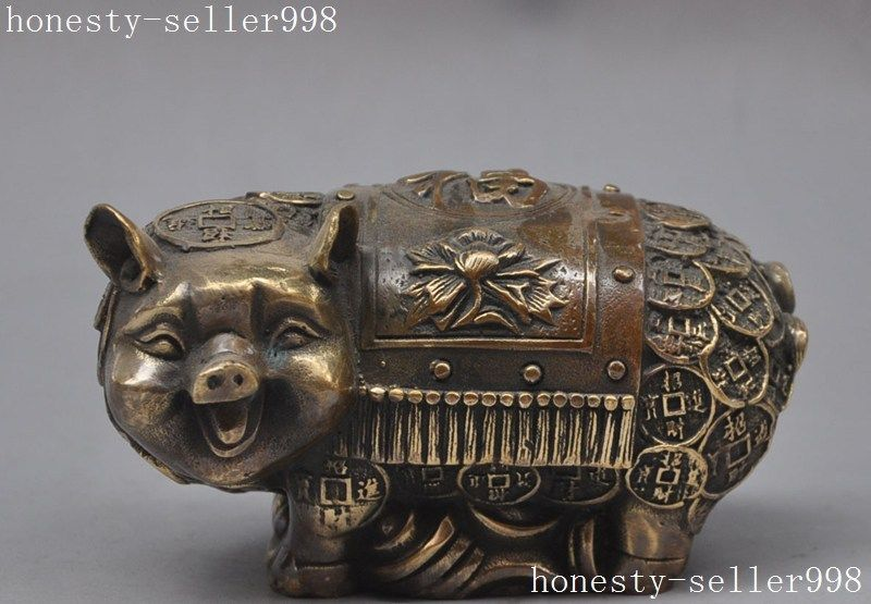 Crafts statue chinese bronze fengshui animal Money pig Swine Auspicious wealth lucky statue  HalloweenCrafts statue chinese bronze fengshui animal Money pig Swine Auspicious wealth lucky statue  Halloween