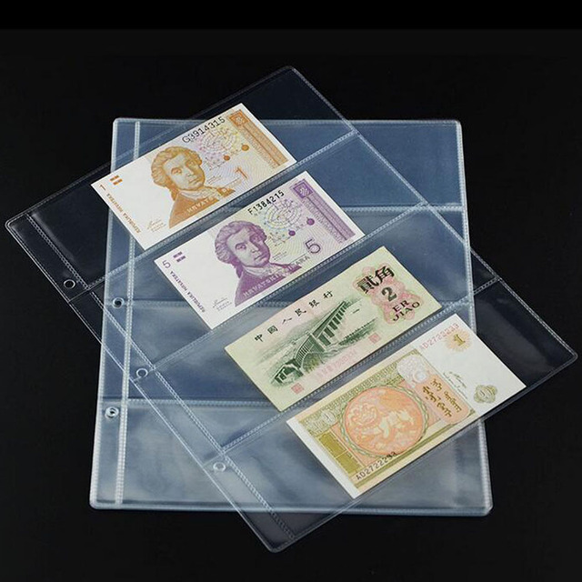 1Pc Paper Money pages 4 Pockets 25.5*20cm Bill Note Currency Holder Album Pages Collection Coin Purses Free Shipping Coin Purses & Holders