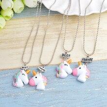 Multicolor curl cartoon unicorn Pendant Cute animal Necklace