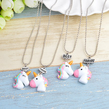 Multicolor curl cartoon unicorn Pendant Cute animal Necklaces dangle Chain Sacred meaningful Jewelry nice gift women accessories(China)
