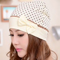 Pregnant women windproof cap maternity hat dots bow knot cotton moon hat, CMC134