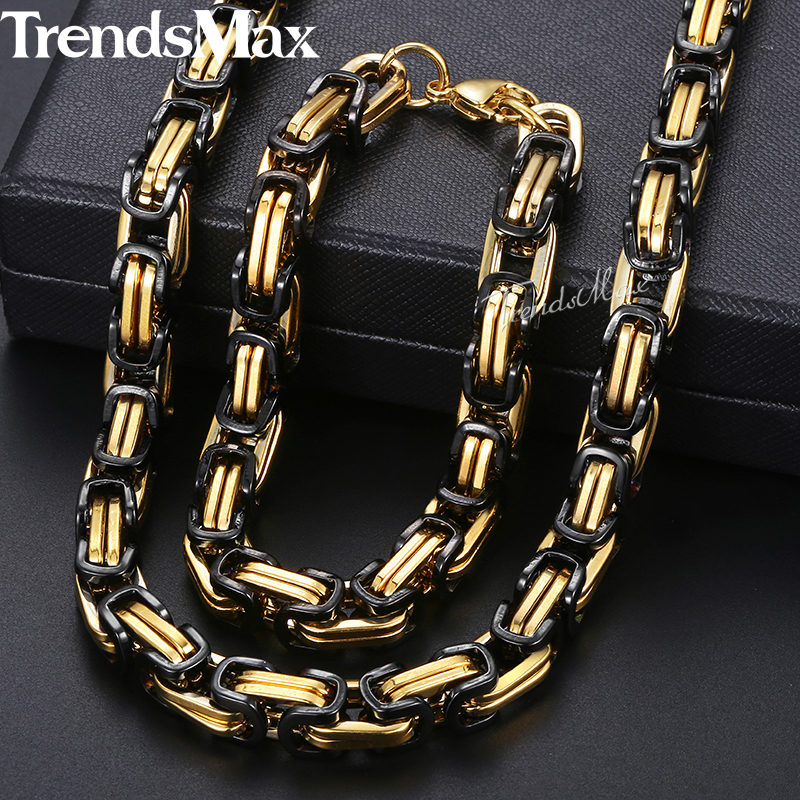 Jewelry Sets For Men Stainless Steel Bracelet Necklace Set Black Gold Byzantine Box Chain 2018 Dropshipping Jewelry 8mm KKS54 thick gold chain set wholesale men s jewelry white black crystal buckle necklace bracelet stainless steel jewelry sets