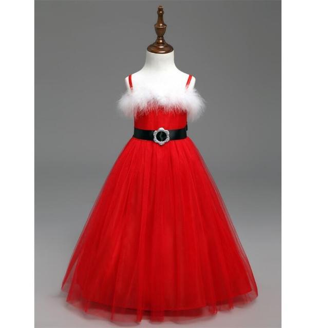 a609e65216e Hiver Rouge Noël Tutu Spaghetti Robe Pour Bébé Fille Enfants Vêtements  Santa Clus Fantaisie Boule Fête