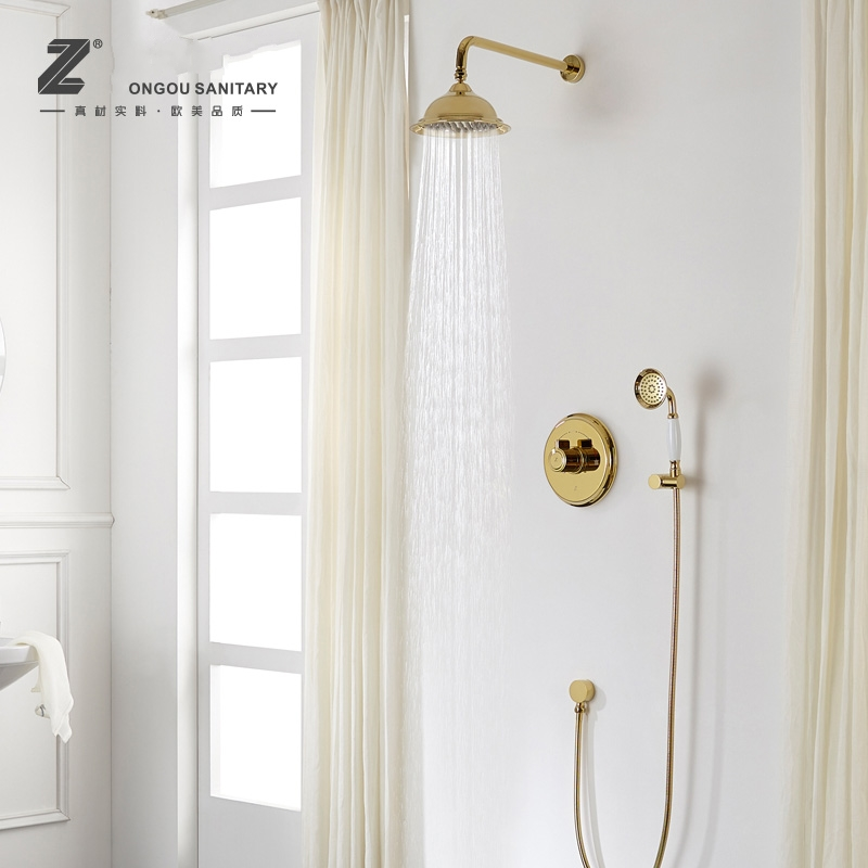 Gold classical bathroom solid brass wall mounted Shower Faucet set ...