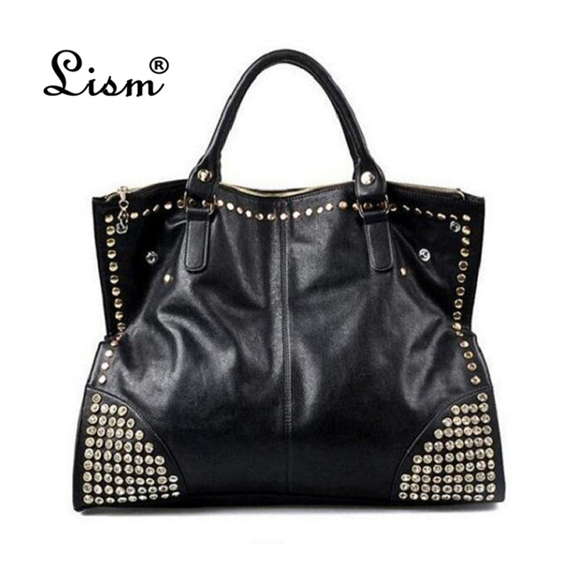 2018 New Hot Casual  Women PU Leather Handbags Fashion Shining Rivet Fake Diamond Nk Ladies Shoulder Bags Large Tote Bags