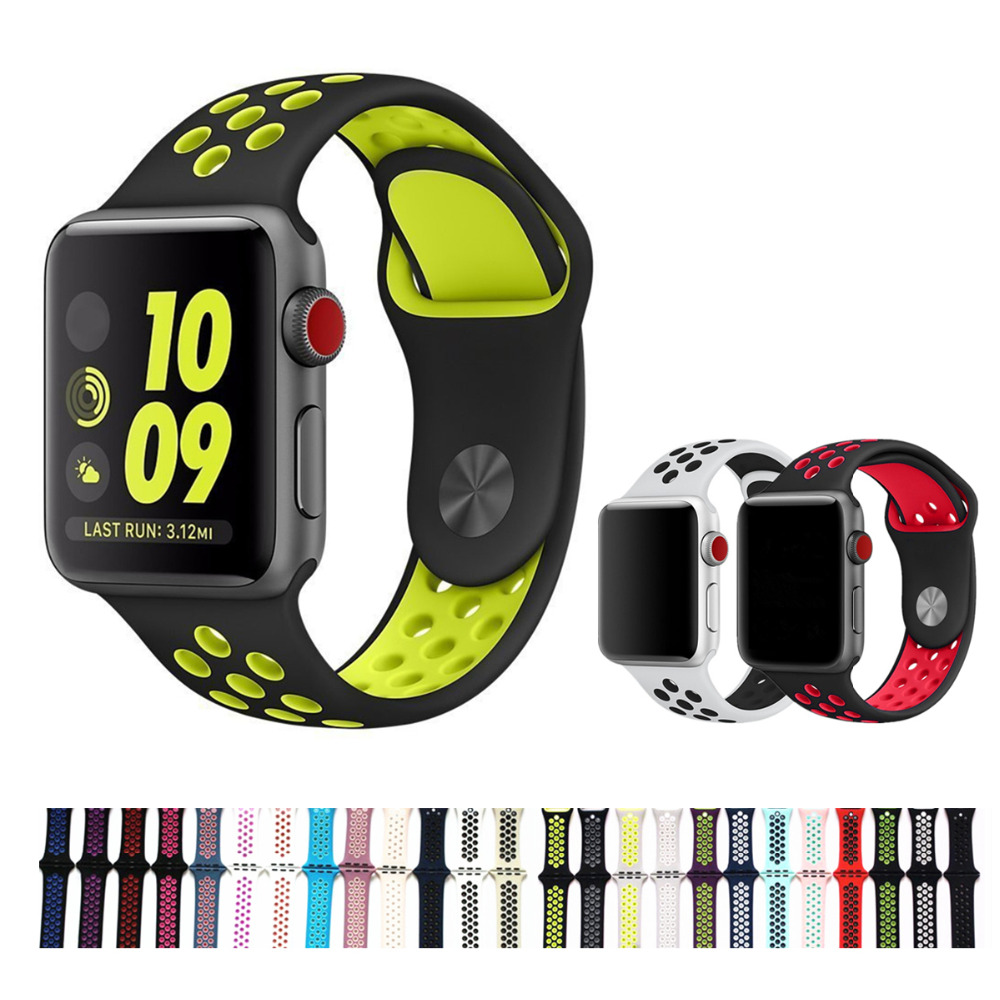 Sports strap for Apple Watch band 42mm 38mm iWatch Series 3 2 1 band Silicone wrist bracelet watchband With Adapter Accessories sport silicone band strap for apple watch nike 42mm 38mm bracelet wrist band watch watchband for iwatch apple strap series 3 2 1