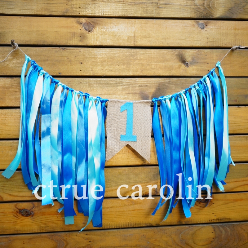 1 Satz blaues Band Banner Fahnen Partei Girlande Baby Dusche Girlande - Partyartikel und Dekoration
