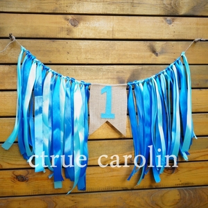 1 set blue ribbon Banner flags party garland baby shower bunting boy First Birthday party flag 1st Party Decor