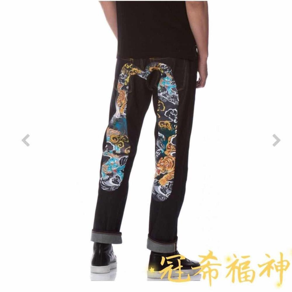 Evisu Jeans Straight-Pants Hip-Hop Breathable Men's Casual Fashion New Embroidery Print