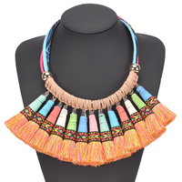 Luxury Big Maxi Cotton Silk Tassel Necklace Bohemian Rope Chain Velvet Pu Leather Statement Necklaces For