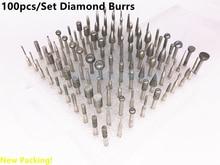 100 unids/set rebabas de rectificado de Diamante montado puntos Grabado Grabado herramienta Abrasiva Herramienta Rotativa Dremel Accesorios