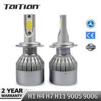 2Pcs Set COB 72W 7600LM 6000K Dc12v Led Headlight H1 H4 H7 Car Fog Lamp H11