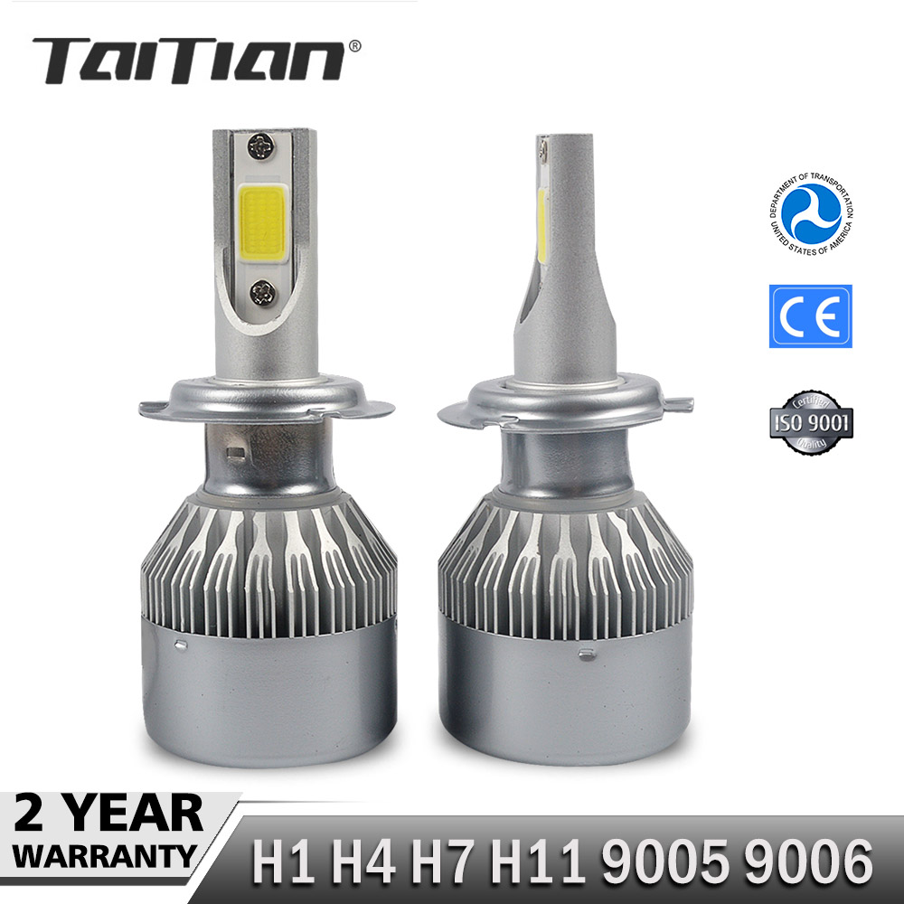 Taitian 2Pcs COB 72W 7600LM 6000K dc12v led Headlight H1 H4 H7 Car Fog Lamp H11 9005 9006 Canbus light ice Auto Bulbs for toyota