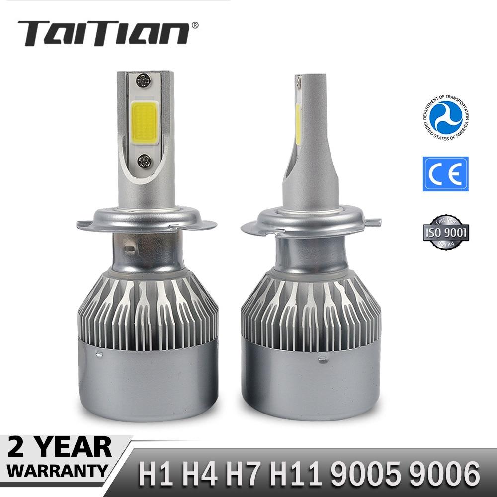 Taitian 2Pcs COB 72W 7600LM 6000K dc12v led Headlight H1 H4 H7 Car Fog Lamp H11 9005 9006 Canbus light ice Auto Bulbs for toyota