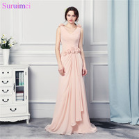 New Chiffon Cheap Evening Dresses With Handmade Flowers Long Mermaid Pink Evening Gown