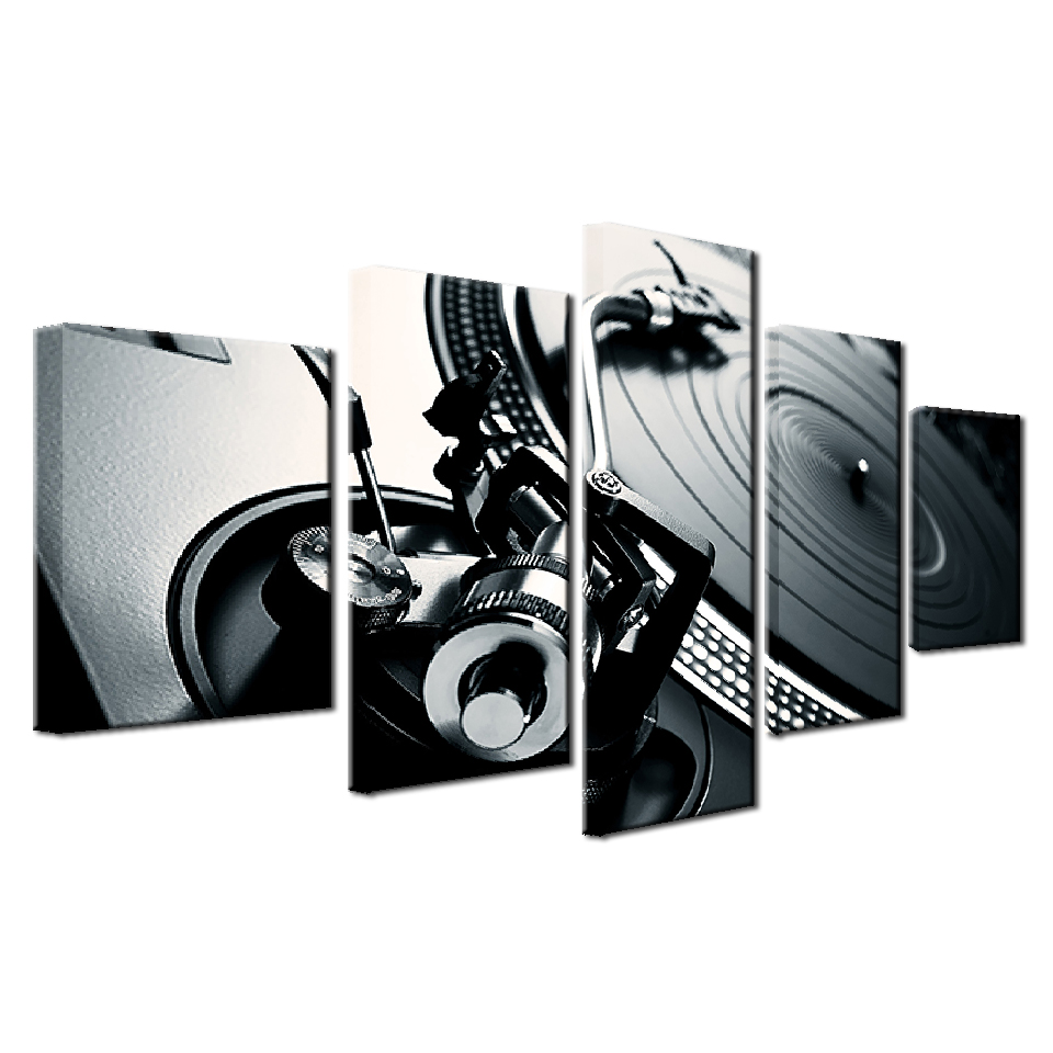 Framework 5 Piece Music DJ Console Instrument Mixer Painting Canvas Wall Art Picture Home Decoration Living Room Canvas Painting