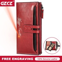 GZCZ Classic Genuine Cow Leather Women Wallets Wallet High Quality Long Design Clutch Cowhide Walet High