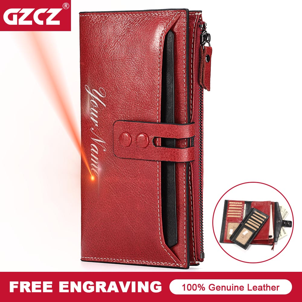 GZCZ Classic Genuine Cow Leather Women Wallets Wallet High Quality Long Design Clutch Cowhide Walet High Fashion Female Purse