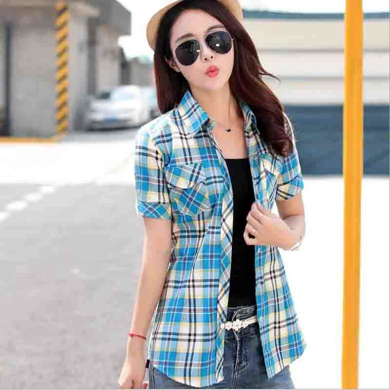 Student Sweet Plaid Shirts Pockets Stand Collar 100% Cotton Shirt Single Breasted Office Lady Basic Cotton Shirts Blouses