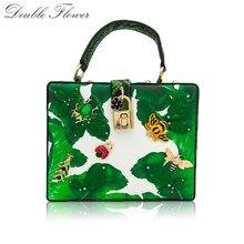 더블 꽃 녹색 바나나 잎 작은 곤충 여성 토트 백 숄더 핸드백 크로스 바디 가방 숙녀 캐주얼 박스 클러치 백