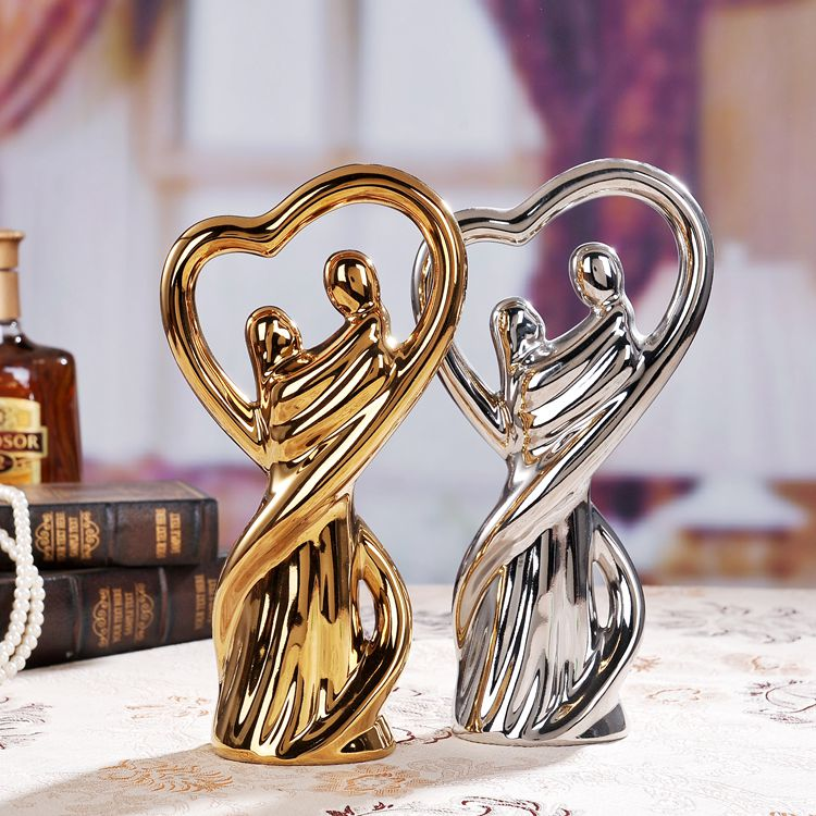 Gold silver ceramic lovers home decor crafts room decoration ceramic handicraft ornament porcelain figurines wedding decorations in Figurines Miniatures from Home Garden