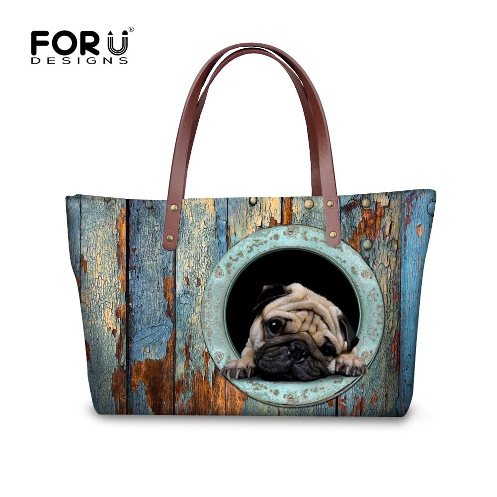 FORUDESIGNS Vicces mopsz kutya női kézitáska alkalmi nagy női válltáska felső fogantyú táskák állatgyűjtő Messenger táska Bolsas Mujer