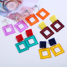 Korean Translucent Resin Hollow Large Dangle Earrings for Women Pendant Contrast Color Acrylic Exaggerated Square